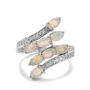 Ethiopian Opal Ring with White Topaz in Sterling Silver 1.54cts