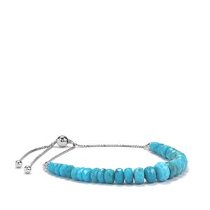 Sleeping Beauty Turquoise Graduated Bead Slider Bracelet in Sterling Silver 22cts