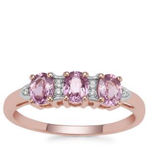 Sakaraha Pink Sapphire Ring with White Zircon in 9K Rose Gold 0.97ct