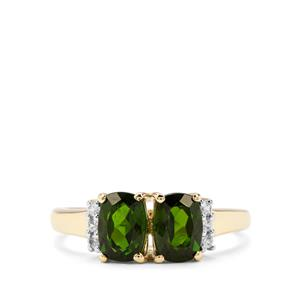 Chrome Diopside & White Zircon 9K Gold Ring ATGW 2.12cts