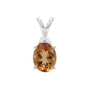 Scapolite Pendant with White Zircon in Sterling Silver 2.14cts