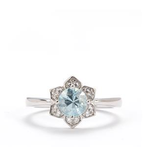 Ratanakiri Blue Zircon Ring with White Topaz in Sterling Silver 1.38cts