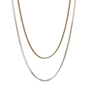 Sterling Silver Classico Panza Curb Chain and Gold Tone Sterling Silver Panza Curb Chain 3g