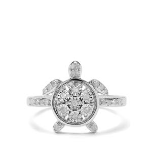 1/5ct Diamond Sterling Silver Halo Diamond Tortoise Ring