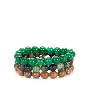 Ruby Zoisite, Unakite & Green Agate Set of 3 Stretchable Bracelets ATGW 400cts