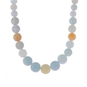 Multi-Colour Aquamarine Graduated Necklace in Sterling Silver 227.45cts