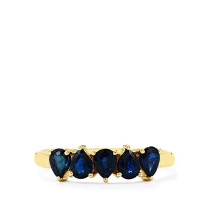 Nigerian Blue Sapphire Ring in 9K Gold 1.09cts