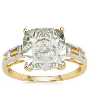 Lehrer Quasar Cut Prasiolite Ring with White Zircon in 9K Gold 3.35cts