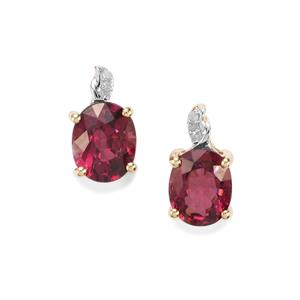 Comeria Garnet Earrings with Diamond in 9K Gold 3.06cts