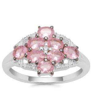 Mozambique Pink Spinel Ring with White Zircon in Sterling Silver 1.55cts