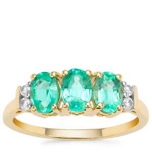 Malysheva Russian Emerald Ring with White Zircon in 9K Gold 1.59cts