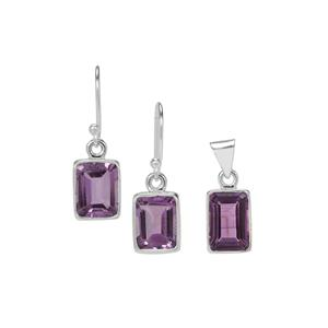 Bahia Amethyst Set of Pendant and Earrings in Sterling Silver 10.50cts