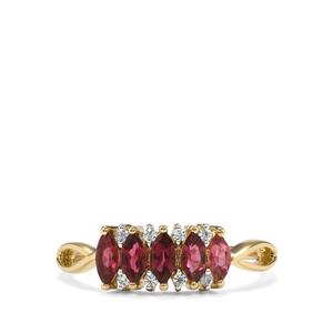 Cruzeiro Pink Tourmaline Ring with White Zircon in 9K Gold 0.74ct