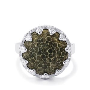 Fossil Black Coral Ring in Sterling Silver 9.30cts