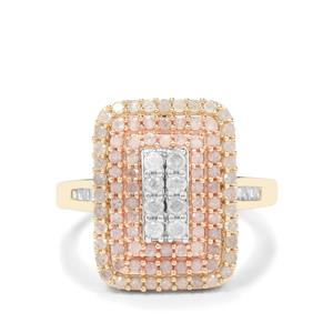 Diamond Ring in 9K Three Tone Gold 1ct