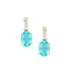Madagascan Blue Apatite Earrings with White Zircon in 10K Gold 1.70cts