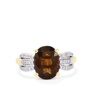Bekily Color Change Garnet Ring with Diamond in 14k Gold 3.93cts