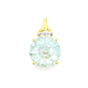 Lehrer QuasarCut Sky Blue Topaz Pendant with Diamond in 10K Gold 5.87cts