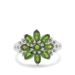 Chrome Diopside Ring with Green Diamond in Sterling Silver 2.21cts