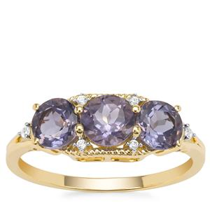 Montezuma Blue Quartz Ring with White Zircon in 9K Gold 1.52cts