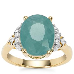 Grandidierite Ring with Diamond in 18K Gold 5.31cts