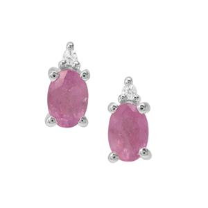 Ilakaka Hot Pink Sapphire Earrings with White Zircon in Sterling Silver 1.36cts (F)