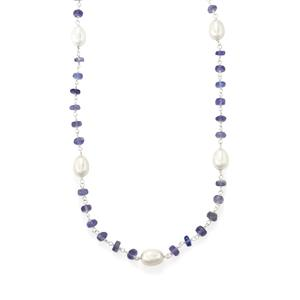 Tanzanite Bead Necklace with Kaori Freshwater Cultured Pearl in Sterling Silver