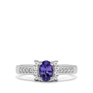 AA Tanzanite & White Topaz Sterling Silver Ring ATGW 0.72cts