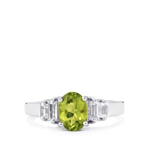 Changbai Peridot Ring with White Topaz in Sterling Silver 1.82cts