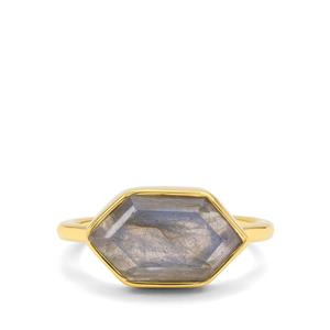 Paul Island Labradorite Ring in Gold Plated Sterling Silver 4.30cts