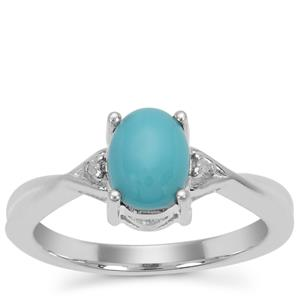Sleeping Beauty Turquoise Ring with Diamond in Sterling Silver 1.07cts