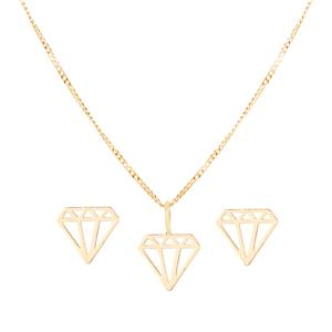 9K Gold Diamond Icon Necklace and Earring Set 1.13g
