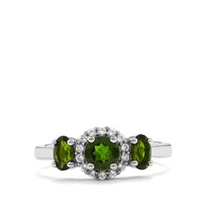 Chrome Diopside & White Topaz Sterling Silver Ring ATGW 1.22cts