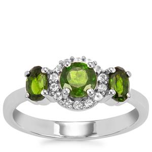 Chrome Diopside Ring with White Topaz in Sterling Silver 1.22cts