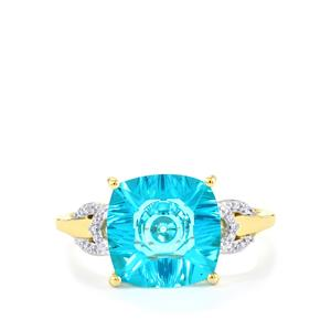 Lehrer QuasarCut Batalha Topaz Ring with Diamond in 10k Gold 4.15cts