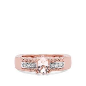 Zambezia Morganite & White Zircon Rose Midas Ring ATGW 0.74ct