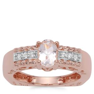 Zambezia Morganite Ring with White Zircon in Rose Gold Plated Sterling Silver 0.74ct