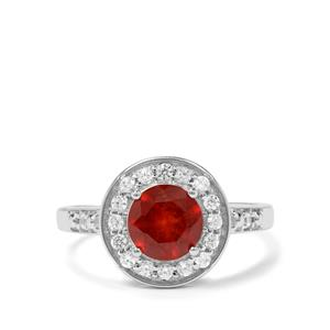 Hessonite Garnet & White Zircon Sterling Silver Partywear Ring ATGW 1.82cts