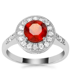 Hessonite Garnet Partywear Ring with White Zircon in Sterling Silver 1.82cts