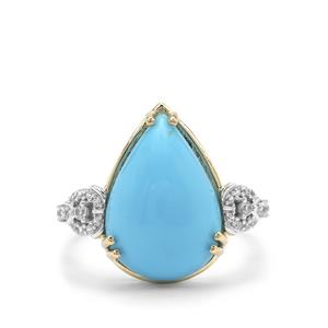 Sleeping Beauty Turquoise Ring with White Zircon in 9K Gold 6.35cts