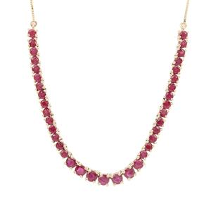 Burmese Ruby Necklace in 9K Gold 5.70cts