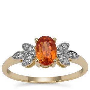 Mandarin Garnet Ring with White Zircon in 9K Gold 1.40cts
