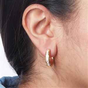 Halo Moonstone Hoop Earrings in Gold Plated Sterling Silver