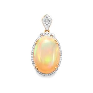 Ethiopian Opal Pendant with Diamond in 18K Gold 8.94cts