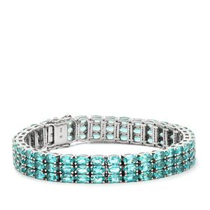Madagascan Blue Apatite Bracelet  in Sterling Silver 26.84cts