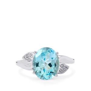 Sky Blue Topaz & White Zircon Sterling Silver Ring ATGW 4.40cts