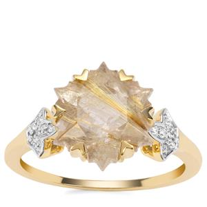 Wobito Snowflake Cut Bahia Rutilite Ring with Diamond in 9K Gold 4.30cts