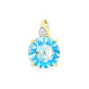 Lehrer KaleidosCut Sky Blue Topaz, Neon Apatite Pendant with Diamond in 10K Gold 5.92cts