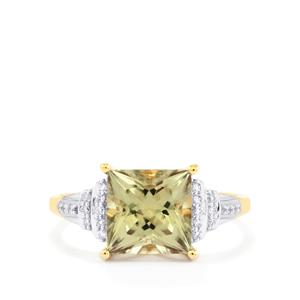 Csarite® Ring with Diamond in 18K Gold 3cts