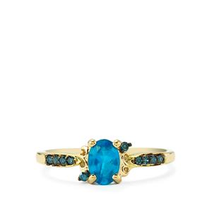 Neon Apatite Ring with Blue Diamond in 9K Gold 0.71cts